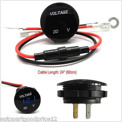 DC12V Mini Round Blue LED Panel Digital Voltage Meter Voltmeter Display Car Boat