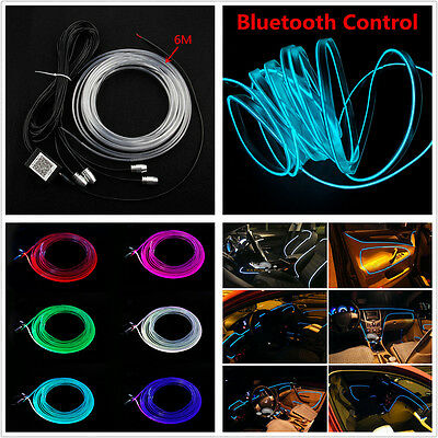 rgb led car interior neon el strip bluetooth phone app control atmosphere light. Black Bedroom Furniture Sets. Home Design Ideas