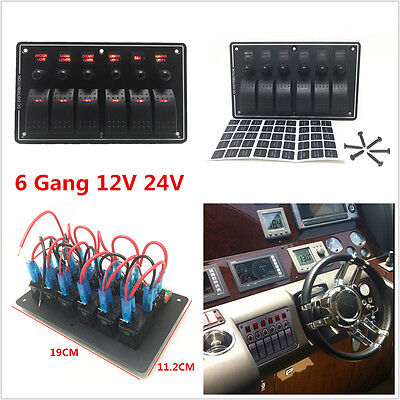 6 Gang 12v 24v Red Led Car Truck Marine Boat Rocker Switch Panel Circuit Breaker