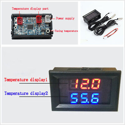 Auto 2-Way Temp Gauge Red+Blue LED Digital Display For Intercooler Supercharger