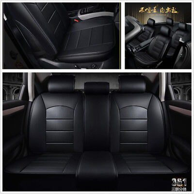 Black PU Leather Full Surround Car 5-Seat Seat Covers Mat Protector Scratchproof