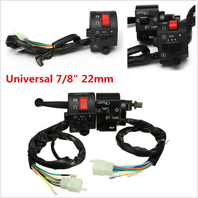 "Universal 7/8"" Motorcycle Handlebar Horn Turn Signal Electrical Start Switch 12V"