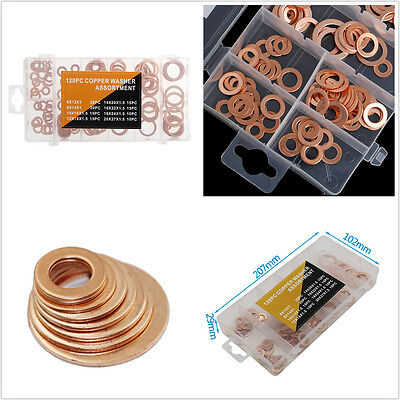 Mistral Set Ring - 120 Pcs 8 Sizes Assorted Solid Copper Crush Washers Seal Flat Ring Set With Box