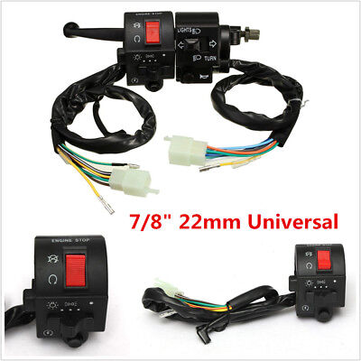 "12V Universal Motorcycle 7/8"" Handlebar Horn Turn Signal Electrical Start Switch"