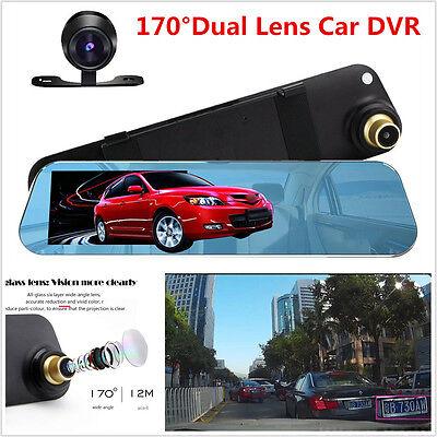 4 3  1080P 170  Dual Lens Car Dvr Rearview Mirror Video Recorder Dash Cam Camera