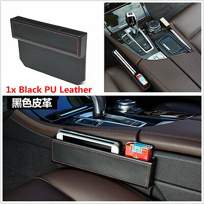 Black PU Leather Car Seat Gap Slit Filler Catch Caddy Catcher Storage Pocket Box