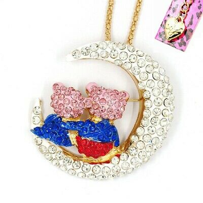Betsey Johnson Hugging Bears Crystal Moon Brooch Pendant Necklace Free Gift Bag