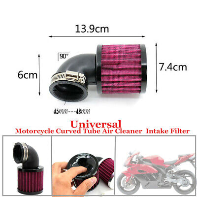 Black Curved Tube Air Cleaner  Intake Filter For 45-48MM Type Motorcycle Air Pod