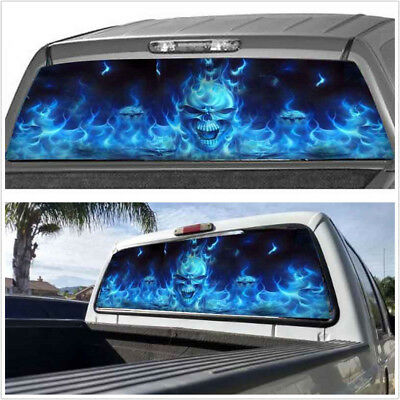 "1X Car Rear Window Flaming Skull Cool Sticker For Truck SUV Jeep (22""x65"" Large)"