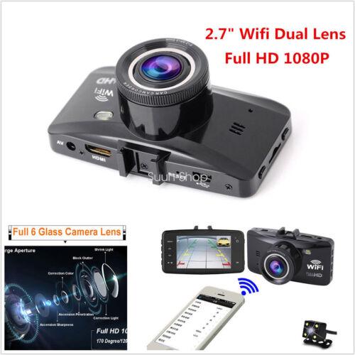 "2.7"" FHD Wifi Dual Lens Car Kit Camera Dash DVR Video Vehicle Crash Cam Recorder"