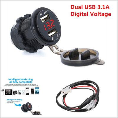 12V Motorcycle 3.1A Dual USB Charger Socket w/ Red LED Digital Voltage Voltmeter