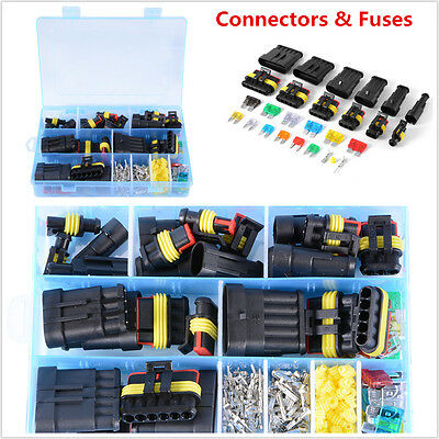 1/2/3/4/5/6 Pin Way Car Waterproof Electrical Connector Terminal+Blade Fuses Kit