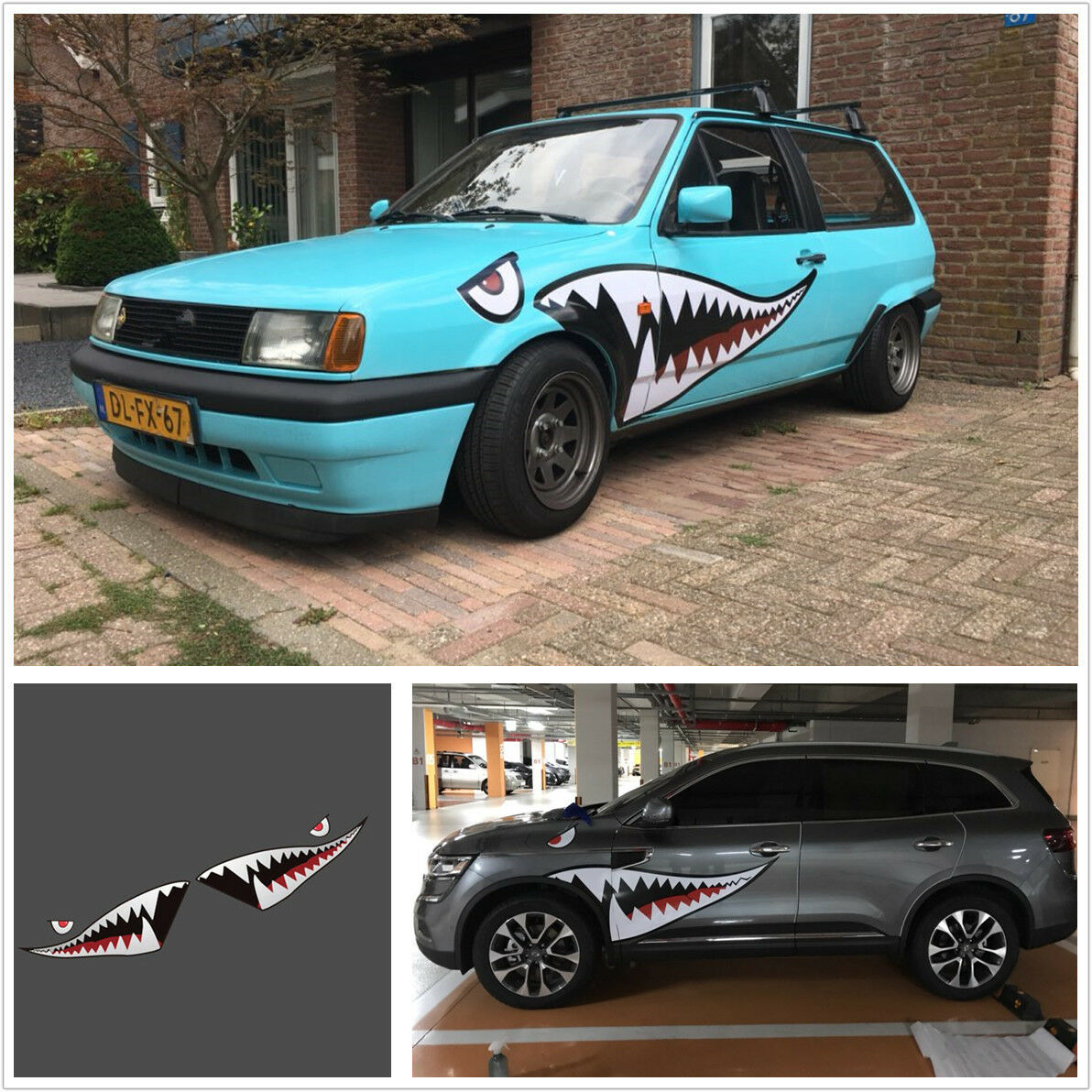 Pair 59'' Car Body Side Door Shark Mouth Tooth Teeth Vinyl Graphic Dec