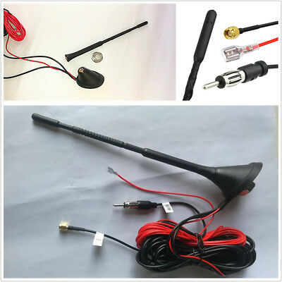 Auto Car Roof DAB/DAB+ Radio Amplified Antenna AM/FM SMA Male Connector 5m Cable