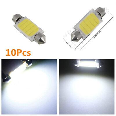 10Pcs 6000K 42MM COB 12-SMD C5W Car LED Reading Light License Plate Light Bulbs