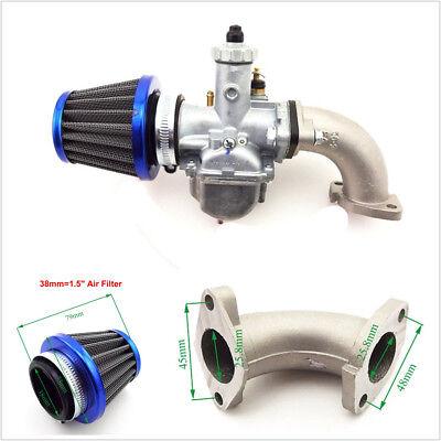26mm Carburetor+38mm Air Filter +Manifold Intake Pipe+Gasket For 110 125cc 140cc