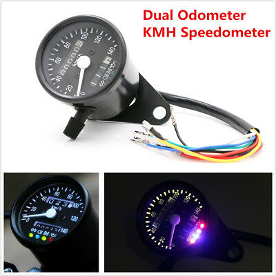 Motorcycle Dual Odometer KMH Speedometer Gauge Meter LED Backlight Signal Light
