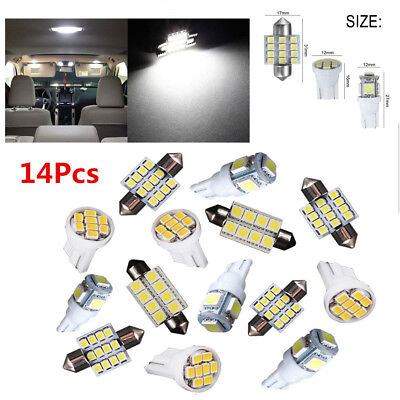 14Pcs White LED Interior Package Kit For T10&31mm Map Dome License Plate Lights! for sale  Canada