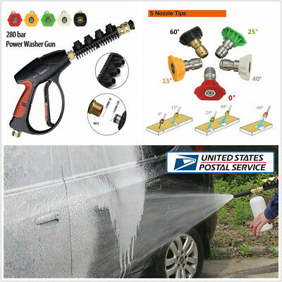4000PSI High Pressure Power Washer Spray Gun+5 Spray Nozzles Tips For Car Wash