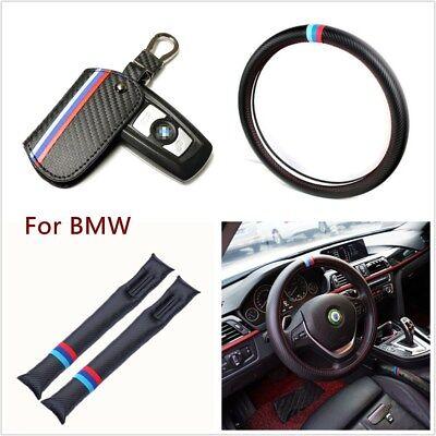 (4pc Carbon Fiber Key Holder Bag Car Steering Wheel Cover Seat Gap Filler For BMW)
