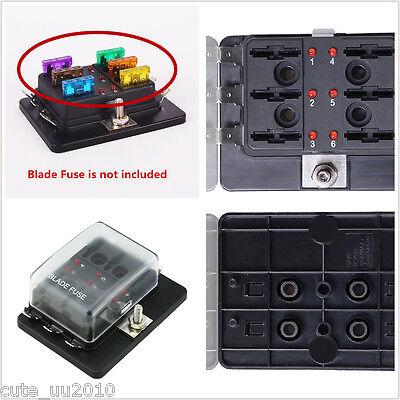 Car Fuse Box w/LED Warning 6-Way Blade Fuse Block Holder Terminals Circuit Auto