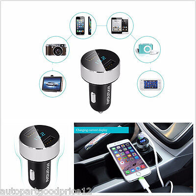 Dual USB Car Charger Adapter Voltage Tester DC 5V 3.1A For iPhone Samsung