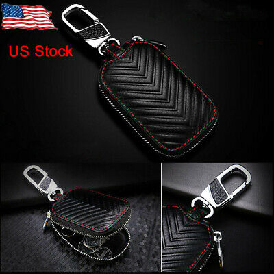 Smart Key Holder Cover Car Key Chain Bag Alloy+Leather Remote Fob Zipper Case US ()