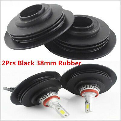 2Pcs Black LED Headlight Car Dust Covers Rubber Waterproof Headlamp Cap 38mm