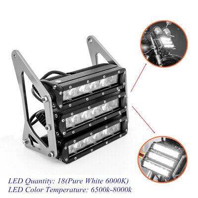 White Retro Three-tier LED ATV Motorcycle Modified Head Fog Light Silver Bracket