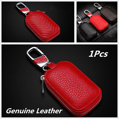 Fashionable Car Genuine Leather Key Holder Men And Women Key Purse Key Case-Red