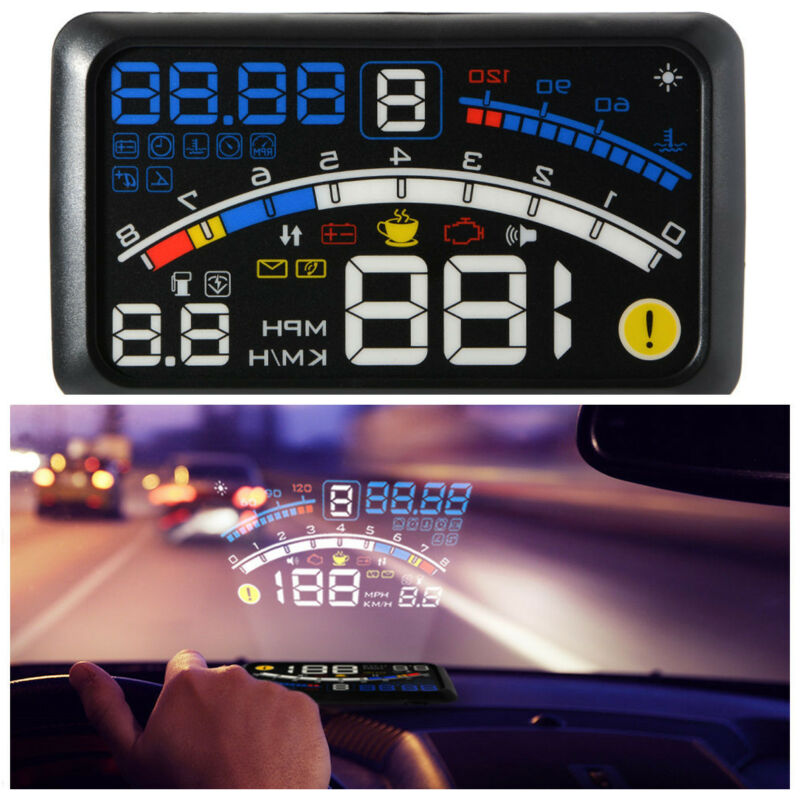 5.5-inch head-up display OBD EOBD speedometer fuel consumption alarm projection
