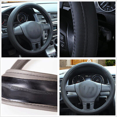 Car Black PU Leather 38cm15 Comfortable Steering Wheel Cover For All Seasons