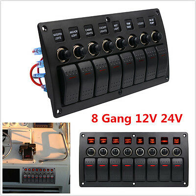 3PIN 8 Gang Red LED Rocker Switch Panel Circuit Breakers Charger Car Boat Marine