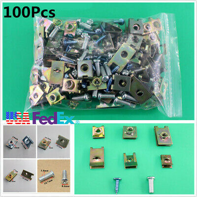 100Pcs Car Body Door Panel U-Nuts Fastener Screw Gasket Fender Metal Clips Kit