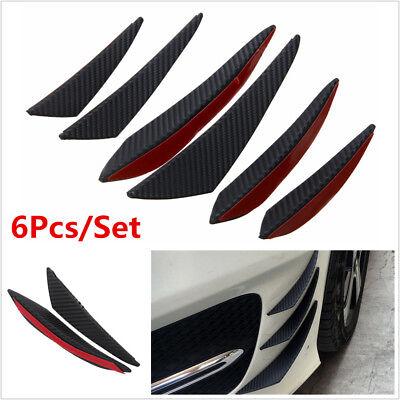 Used, 6Pcs Carbon Fiber Look Car Front Bumper Fins Spoiler Wing Lip Splitter Universal for sale  Canada
