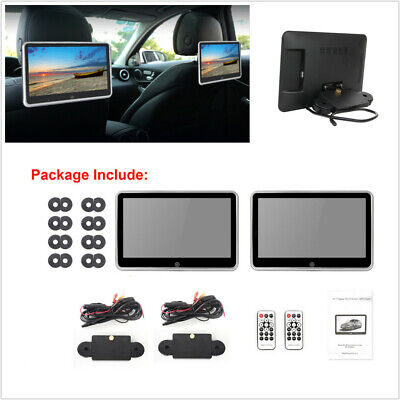 2 Pcs 10.1'' Ultra-thin Car Rear Seat Headrest Monitors MP5 Player Bluetooth HD