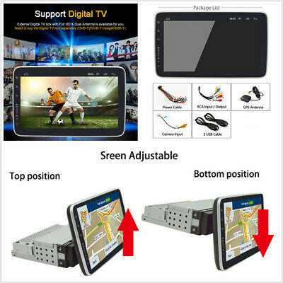 "Single DIN Rotatable Android 8.1 10.2"" 1+16GB Car Stereo Radio BT GPS WiFi 3G 4G"