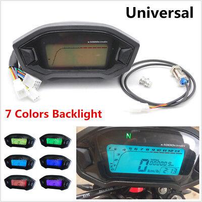 7 Colors Digital LCD Backlight Motorcycle Speedometer Odometer Tachometer Gauge