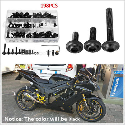 198X Aluminum Motorcycle Body Fairing Spring Screws Bolts Nuts Fastener Clip Kit