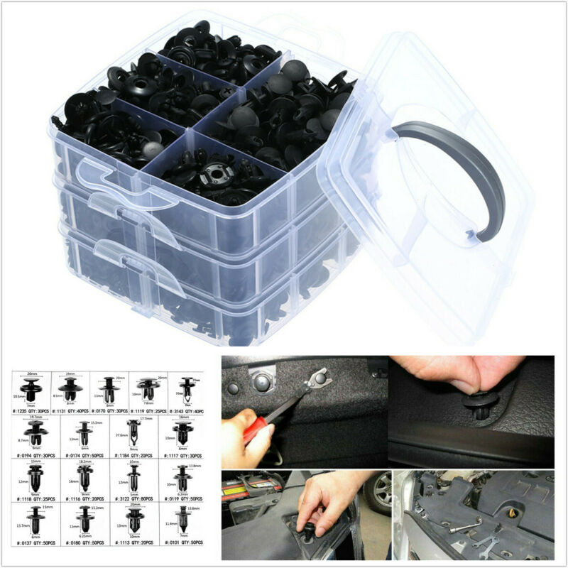 640Pcs 17 Sizes Plastic Fasteners Car Bumper Fender Rivets Push Retainer Clips