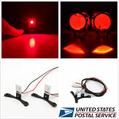 2 x Red LED Devil Demon Eyes Auto Car Headlight Projector Lens Retrofit US Stock