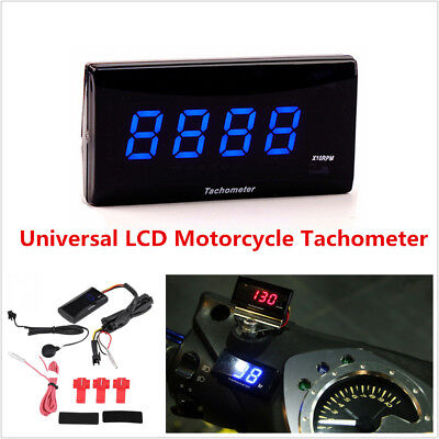 Motorcycle Tachometer Digital LCD Tacho Meter RPM Gauge For Kawasaki Honda BMW