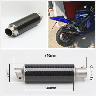 51mm/2'' Rearl Carbon Fiber Motorcycle Slip-On Exhaust Muffler Pipe w/DB Killer