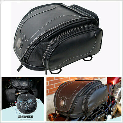 Universal PU Leather Motorcycle Tail Seat Luggage Pack Helmet Bag w/ Rain Cover