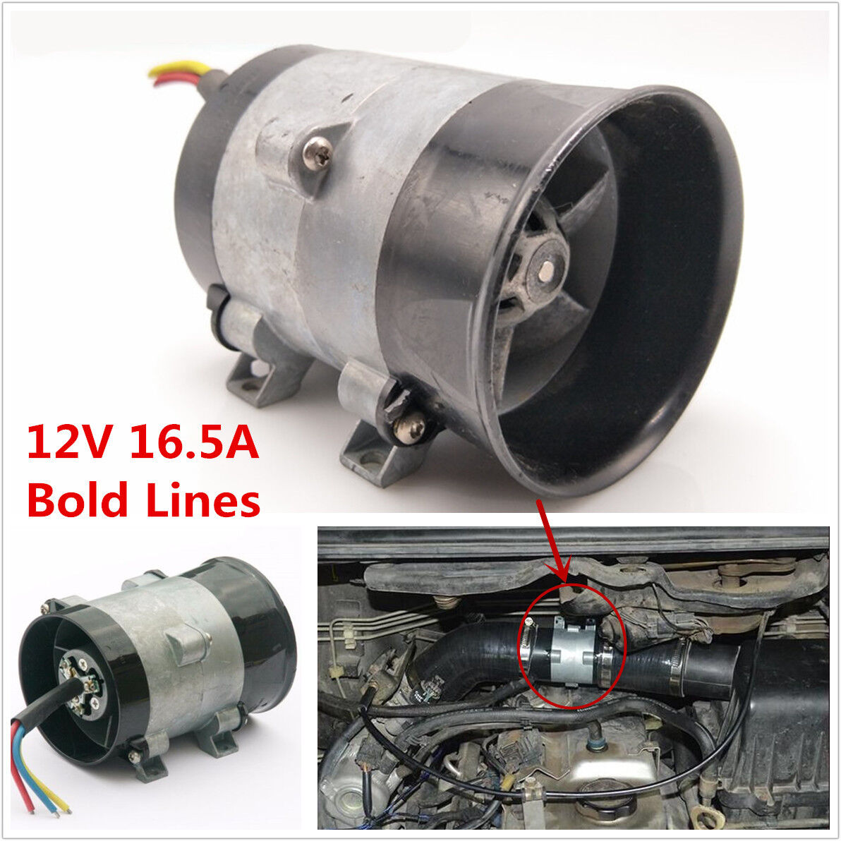 DC12V 16.5A 300W Car Three-phase Electric Turbine Turbo Fan Turbo charger Boost