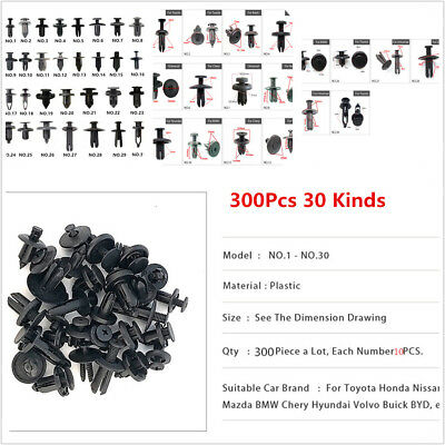 300 Pcs Mixed Car Auto Door Bumper Fender Fastener Retainer Rivet Push Pin Clips for sale  Shipping to Canada