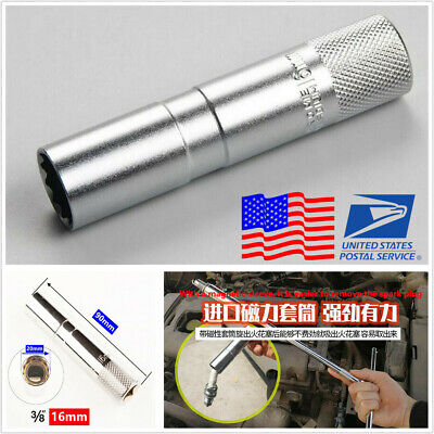 Silver 16MM High Strength Magnetic Spark Plugs Socket Wrench Removal Tool
