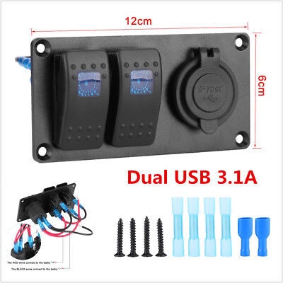 12v24v Car Van Pickup Circuit Breaker Dual Usb 2-gang Led Rocker Switch Panel