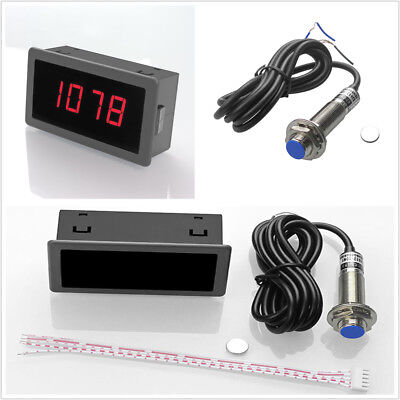 8-24v Car 4 Digital Red Led Tachometer Rpm Speed Meternpn Hall Proximity Sensor