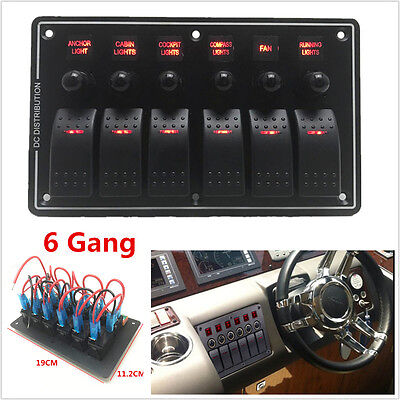 3 Pin 6 Gang 12v-24v Red Led Rocker Switch Panel Circuit Breaker Car Marine Boat